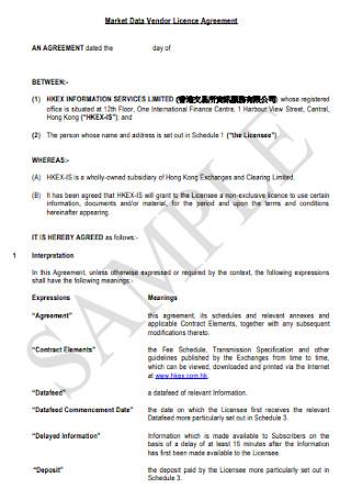 Market Data Vendor Licence Agreement