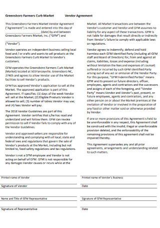 Market Vendor Agreement