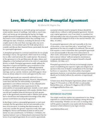 Marriage and Prenuptial Agreement
