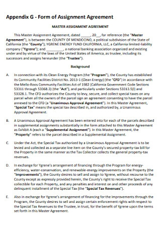 Master Assignment Agreement