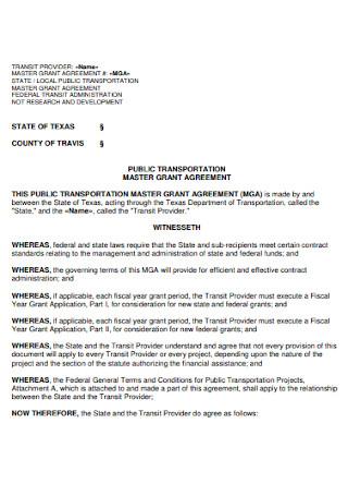 Master Grant Agreement