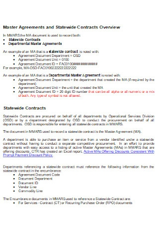 Master Service Contract Agreement Example