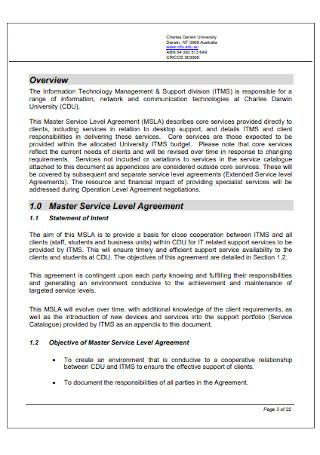 Master Service Level Agreement