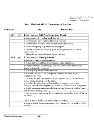 Mechanical Lift Competency Checklist