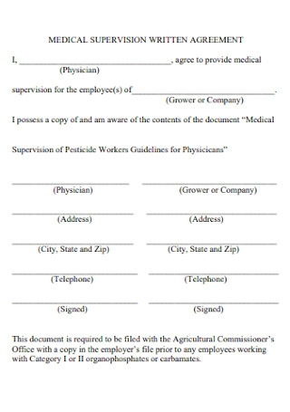 Medical Supervision Written Agreement