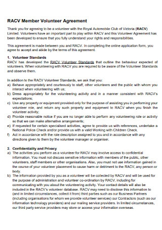 Member Volunteer Agreement