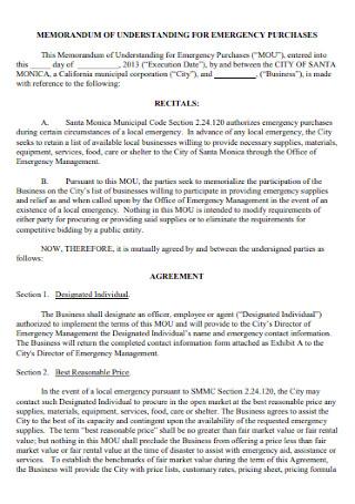 Memorandam Agreement for Emegency Purchases
