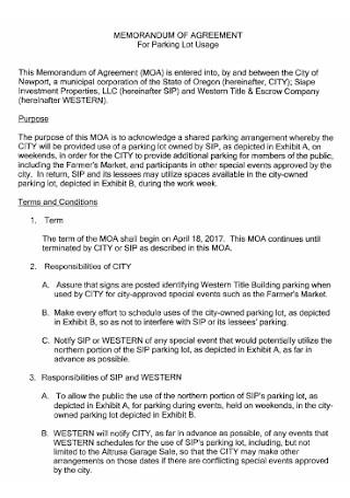Memorandum Agreement for Parking Template