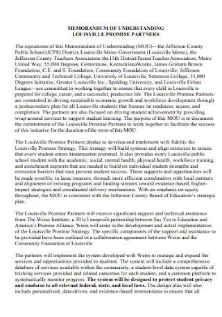 Memorandum Partners Agreement
