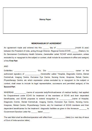 Memorandum Stamp Paper Agreement