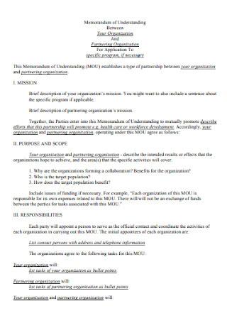 Memorandum of Understanding Agreement