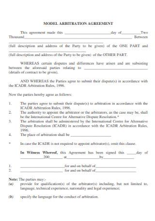 Model Arbitration Agreement