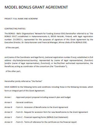 Model Bonus Grant Agreement