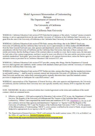 Model Memorandum Agreement