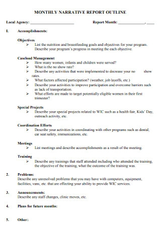 Monthly Narrative Report Outline Template