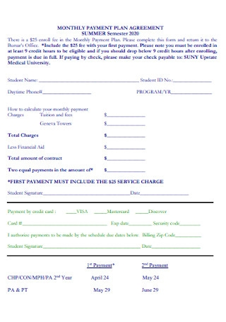Monthly Payment Plan Agreement