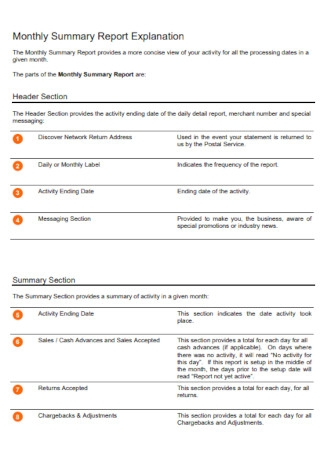 Monthly Summary Report