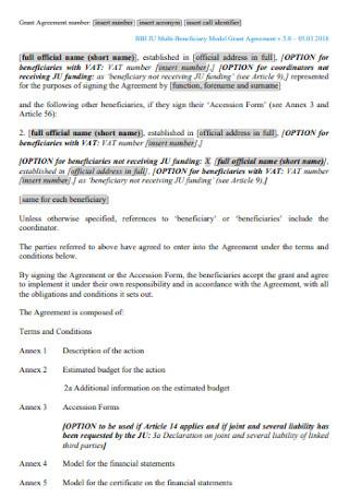 Multi beneficiary Model Grant Agreement