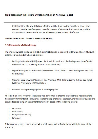Narrative Research Report