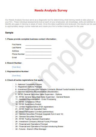 Nedds Analysis Survey Template