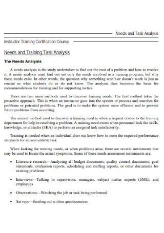 Need and Task Analysis