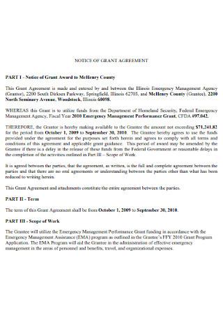 Notice of Grant Agreement