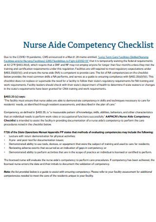 Nurse Aide Competency Checklist