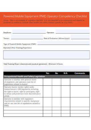 Operator Competency Checklist