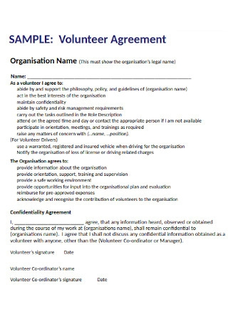 Organisation Volunteer Agreement