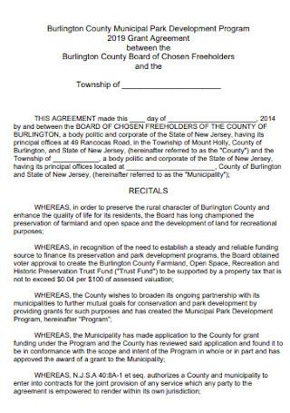 Park Program Grant Agreement