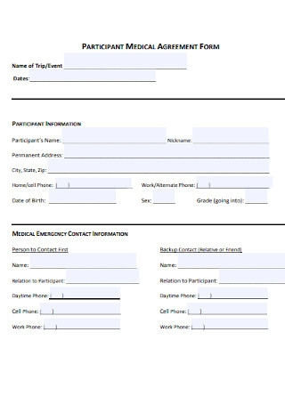 Participant Medical Agreement Form