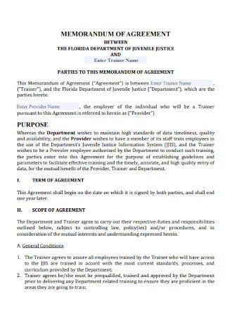Parties of Memorandum Agreement