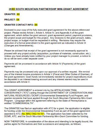Partnership Mini Grant Agreement
