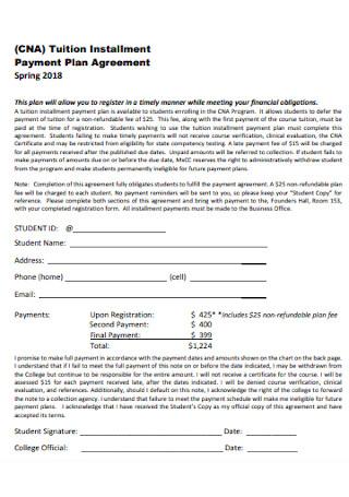 Payment Installment Plan Agreement