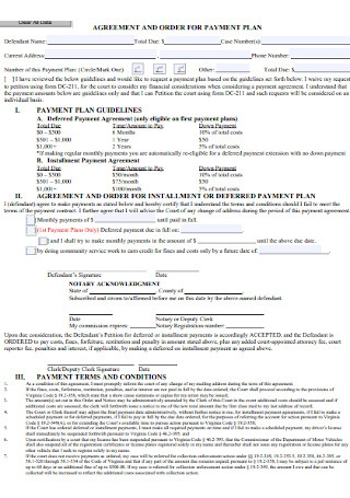 Payment Order Plan Agreement