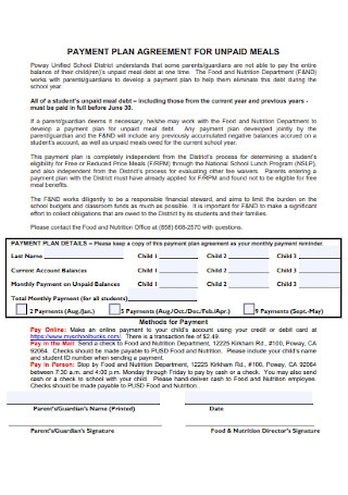 Payment Plan Agreement for Unpaid Meals