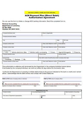 Payment Plan Authorization Agreement