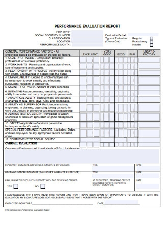 Performance Evaluation Report Template