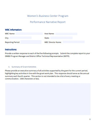 Performance Narrative Report