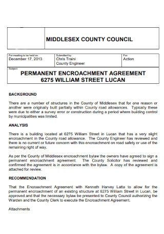 Permanant Encroachment Agreement