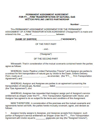 Permanent Assignment Agreement