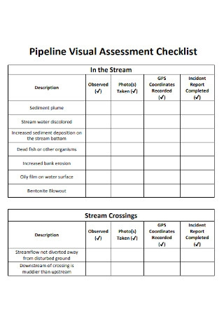 Pipeline Visual Assessment Checklist1