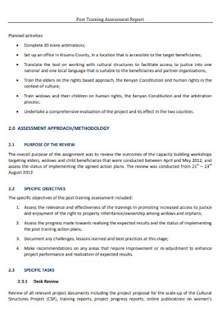 Post Training Assessment Report