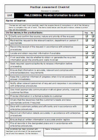 Practical Assessment Checklist
