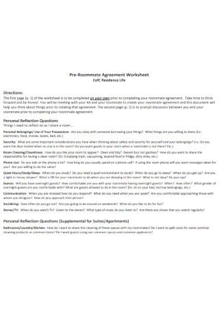 Pre Roommate Agreement Worksheet