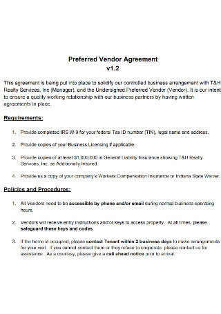 Preferred Vendor Agreement