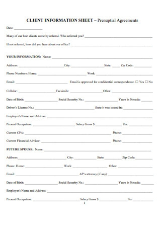 Prenuptial Client Agreements Sheet