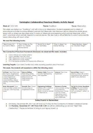 Preschool Weekly Activity Report