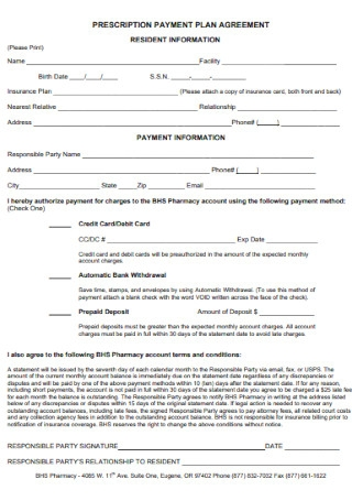 Prescription Payment Plan Agreement