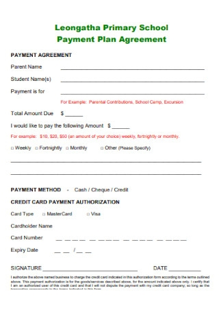 Primary School Payment Plan Agreement
